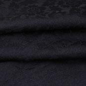 Black Gray Floral Jacquard Brocade Silk Fabric-9149
