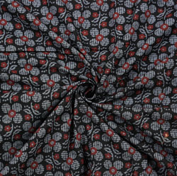 Black Gray and Red Floral Block Print Cotton Fabric-28398