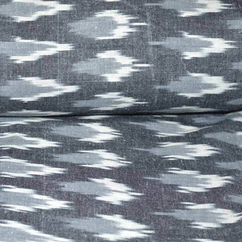 Black Gray and White Ikat Fabric