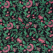 Black Green and Pink Block Print Cotton Fabric-14692