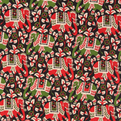 Black-Green and Red Elephant Design Kalamkari Cotton Fabric-10055