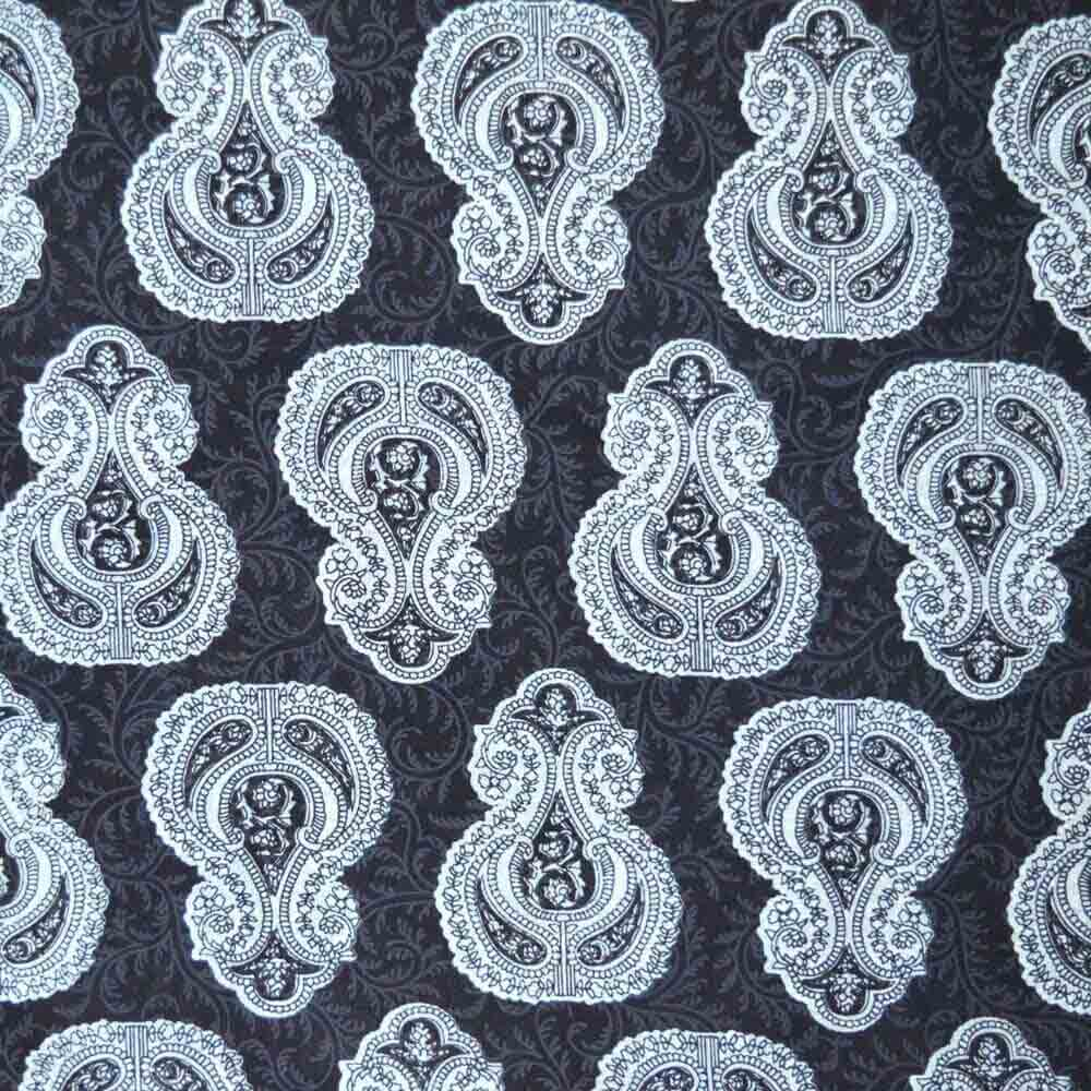 Black Motif Sanganeri Printed Cotton Fabric by the Yard