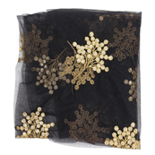 Black Net Fabric With Golden Flower Embroidery-60828