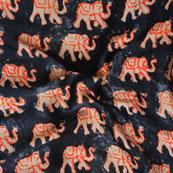 Black Orange Elephant Crepe Silk Fabric-18215