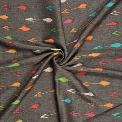 Black Orange Ikat Rayon Fabric-16226