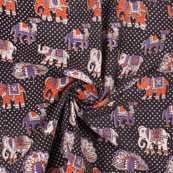 Black-Orange and Purple Elephant Kalamkari Cotton Fabric-10160