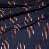 Black-Orange and White Small Lining Pattern Ikat Fabric-5709