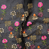 Black Organza Fabric With Golden and Pink Flower Embroidery-51059