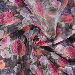 Black Pink Floral Organza Digital Silk Fabric-22168
