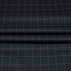Black Pink Checks Wool Fabric-90238