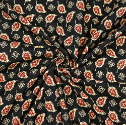 Black Pink and Beige Floral Block Print Cotton Fabric-28456