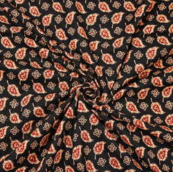 Black Pink and Beige Floral Block Print Cotton Fabric-28457