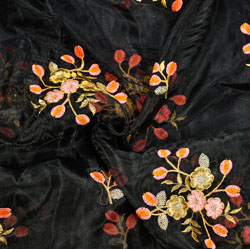 Black Pink and Golden Floral Embroidery Organza Silk Fabric-22069