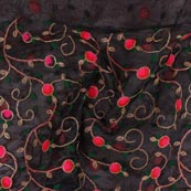 Black Pink and Golden Floral Embroidery Organza Silk Fabric-51713
