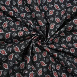 Black Pink and Gray Floral Block Print Cotton Fabric-28455