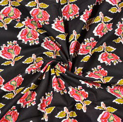 Black Pink and Green Floral Block Print Cotton Fabric-28444