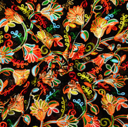 Black Pink and Green Multi Work Georgette Embroidery Fabric-19417