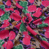 Black-Pink and Purple Flower Shape Crepe Fabric-18043