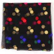 Black Red and Blue Polka Net Fabric-60966