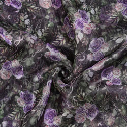 Black Purple Floral Organza Digital Silk Fabric-22164