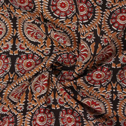 Black Red Block Print Cotton Fabric-16200