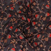 Black Red Embroidery Organza Silk Fabric-51619