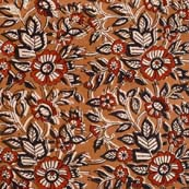 Black Red and Brown Flower Pattern Kalamkari Cotton Fabric by the yard