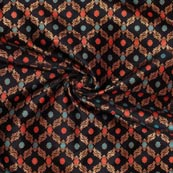 Black Red and Cyan Floral Brocade Silk Fabric-9277