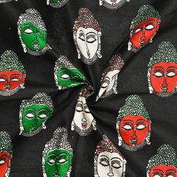 Black Red and Green Buddha Cotton Kalamkari Fabric-28036