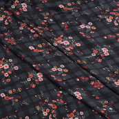 Black-Red and Pink Flower Silk Crepe Fabric-18101