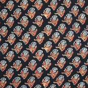 Black Red and White Cotton Ajrakh Block Print Fabric