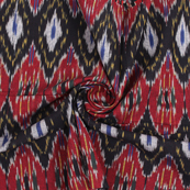 Black-Red and White Cotton Ikat Fabric-12169