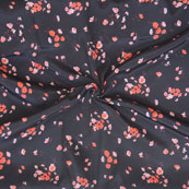 Black Red and White Flower Crepe Silk Fabric-18228