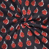 Black-Red and White Flower Design Kalamkari Print Cotton Fabric-14075