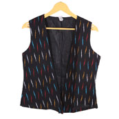 Black-Red and Yellow Cut Sleeve Ikat Cotton Koti Jacket-12229