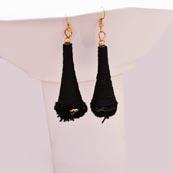 Black Silk Handcrafted with Black Tassel Drop Earring for Women