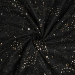 Black Silver Floral Net Embroidery Fabric-19257