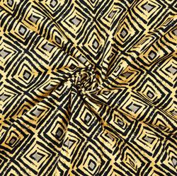 Black White Abstract Block Print Cotton Fabric-28421