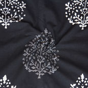 Black White Block Print Cotton Fabric-14788