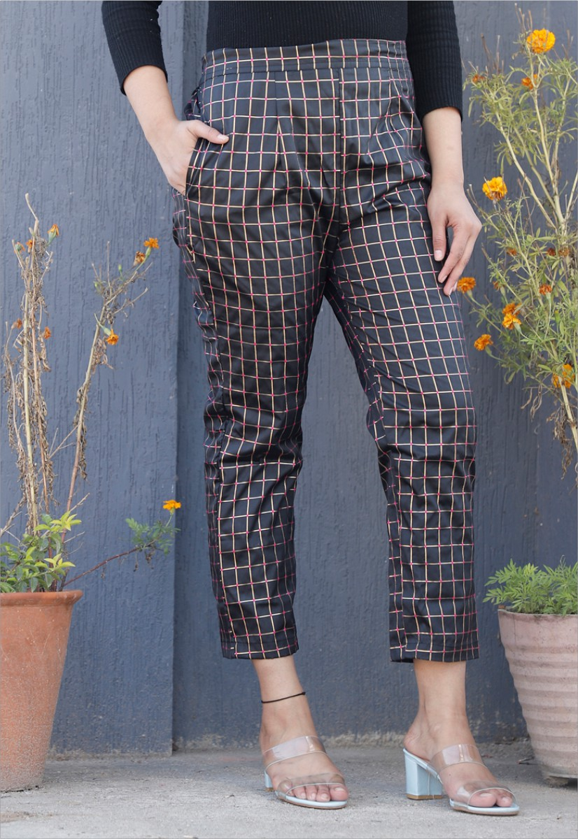 Black White Brocade Silk Ankle Women Check Pant-34327