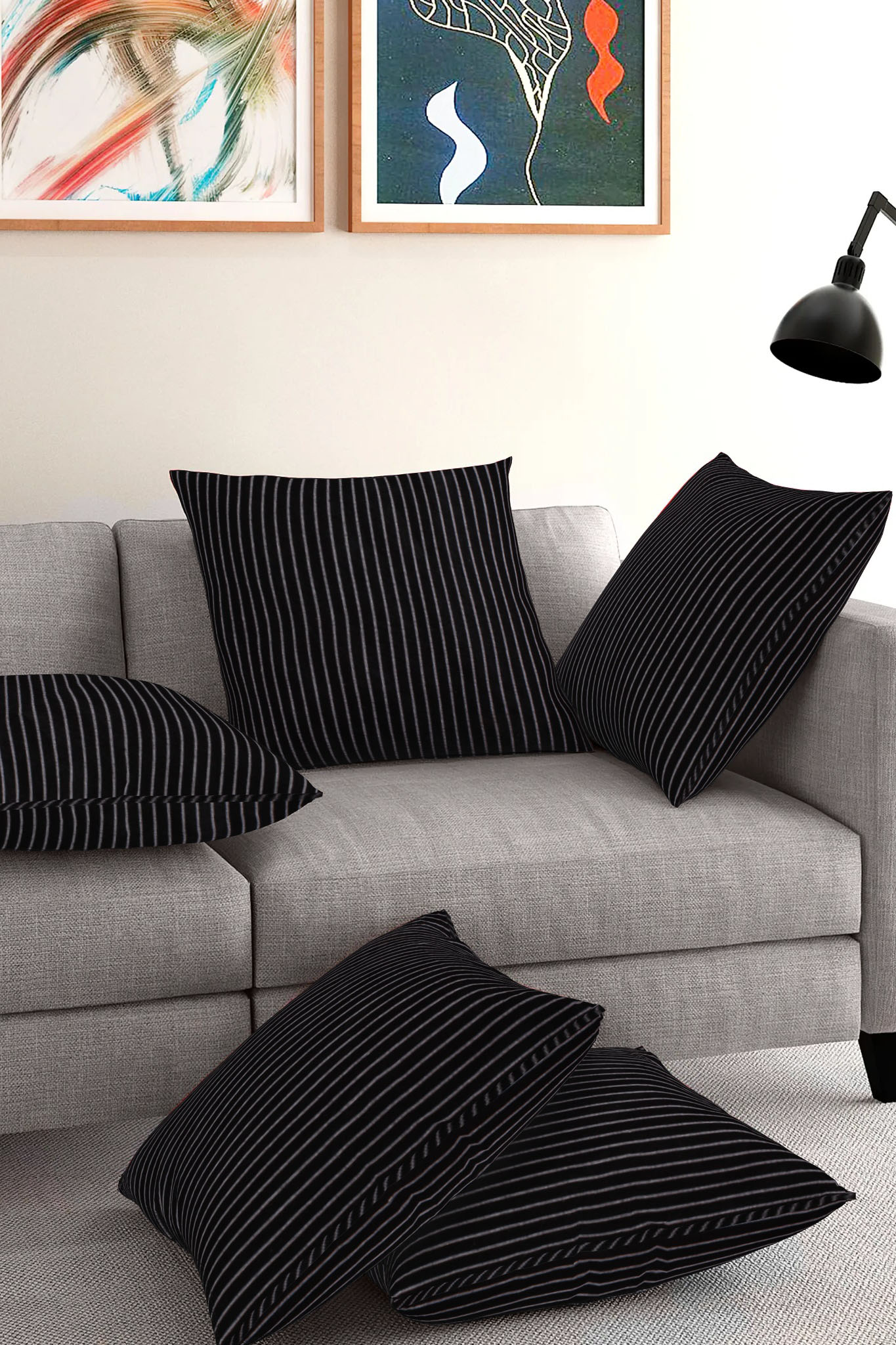 Set of 5-Black White Cotton Cushion Cover-35373-16x16 Inches