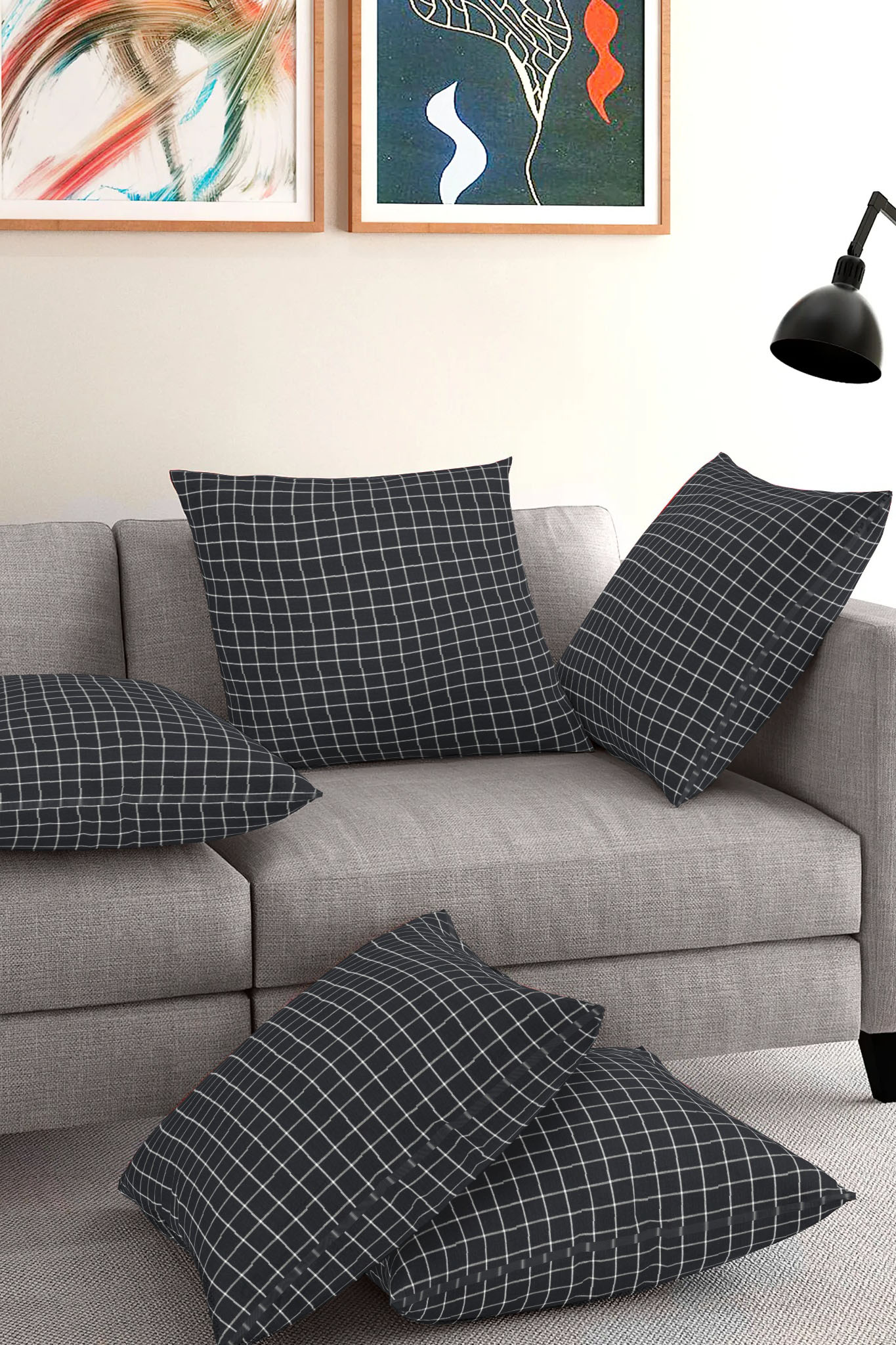 Set of 5-Black White Cotton Cushion Cover-35408-16x16 Inches