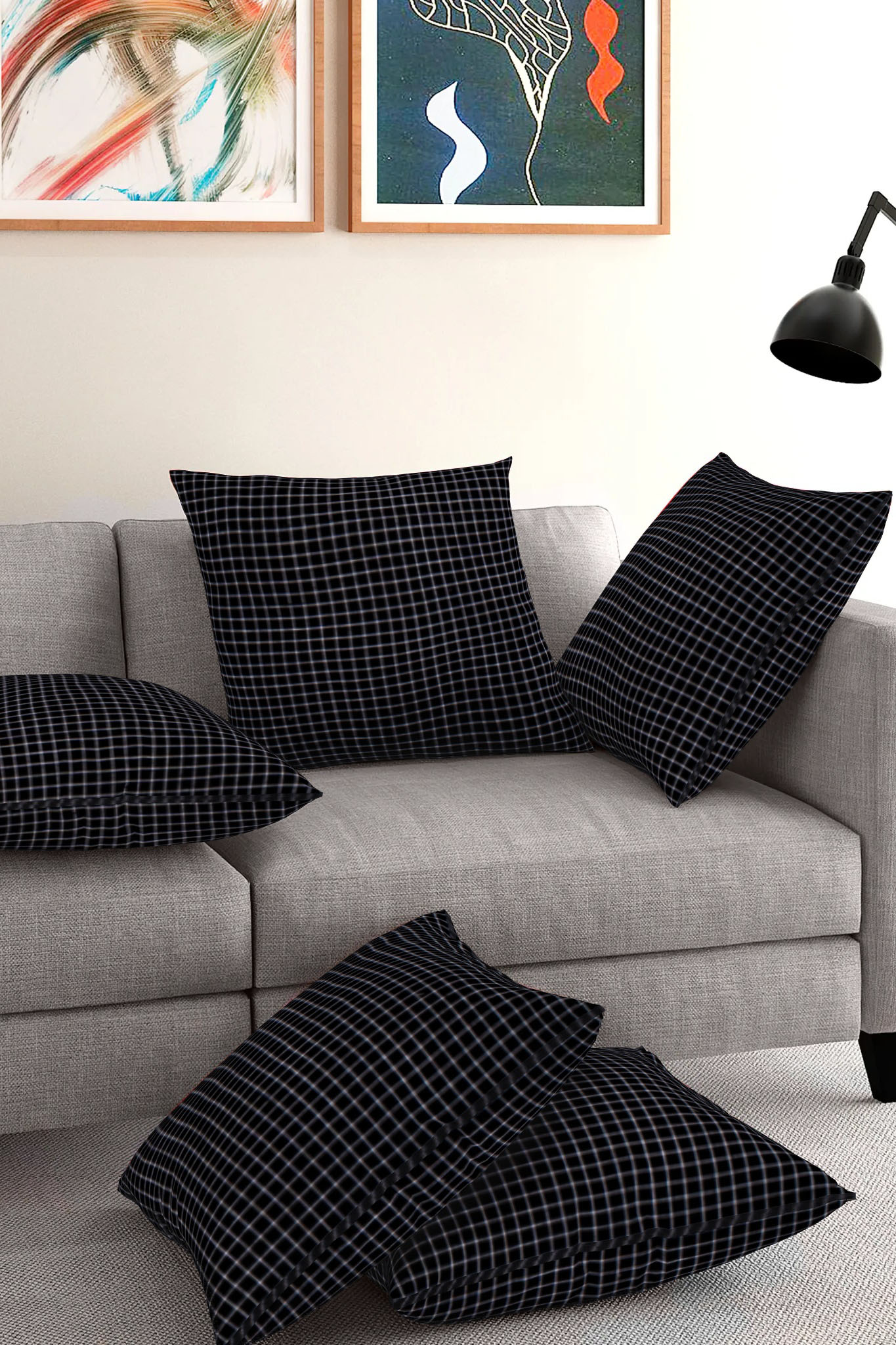Set of 5-Black White Cotton Cushion Cover-35410-16x16 Inches