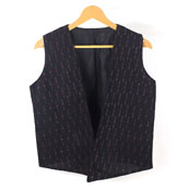 Black White Sleeveless Ikat Cotton koti jacket-12249