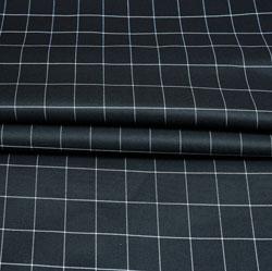 Black White Checks Wool Fabric-90225