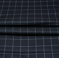 Black White Checks Wool Fabric-90227