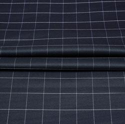 Black White Checks Wool Fabric-90229