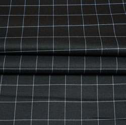 Black White Checks Wool Fabric-90236