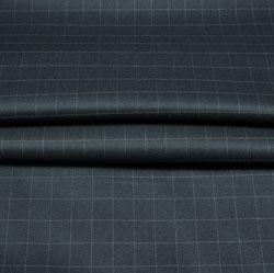 Black White Checks Wool Fabric-90243