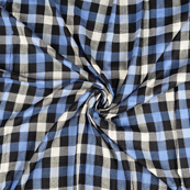 Black-White and Blue Checks Rayon Shirt Fabric-40244